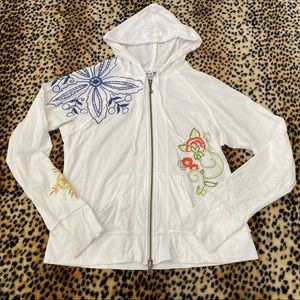Cabi White Embroidered Lightweight Jacket Small